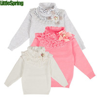 Wholesale Retail Winter Close fitting wear Lace Flower Turtleneck Years Girl Sweater Pure color Soft Fabric