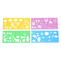 drawing ruler - 4 X Plastic Templates Drawing Ruler for Students Children