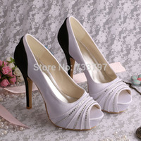 Wholesale New Style Peep Toes Ladies Wedding Shoes High Heel Bridal Shoes Satin Dropship