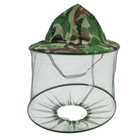 Wholesale Green Dark Brown Camouflage Pattern Anti Mosquito Bug Bee Hooded Fishing Hat Cap