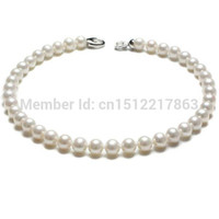 Wholesale White akoya Pearl mm Big Size Natural Necklace Sterling silver