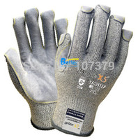 working gloves split leather - HPPE Anti Cut Gloves guage HPPE Gloves Cow Split Leather Cut Resistant Work Glove
