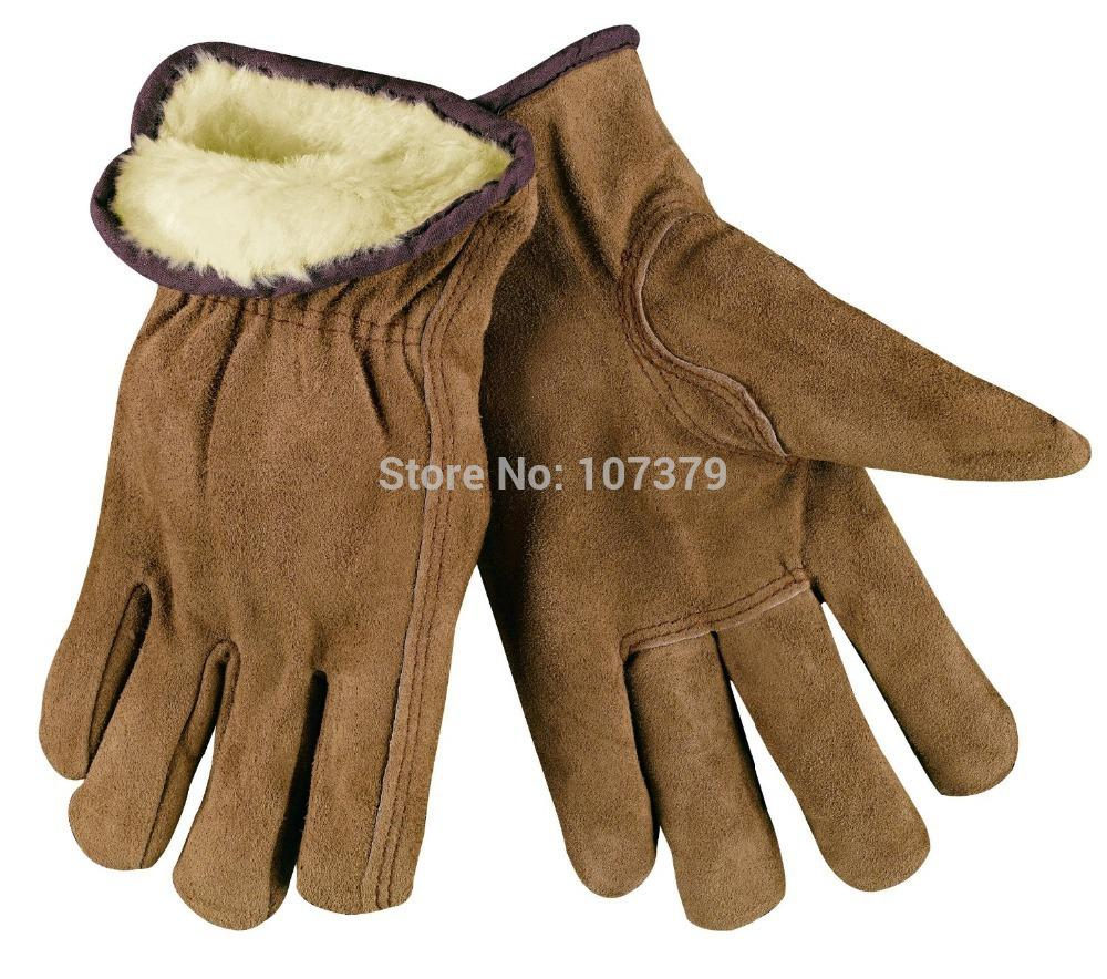Leather work gloves china - Winter Leather Work Gloves Pile Lined And Keystone Thumb Premium Grade Split Leather Driver Gloves