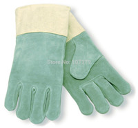 china (mainland) working gloves split leather - Leather Work Glove Heat Treated Double Wool Lined and Duck Cuff Split Cow Leather Welding Gloves