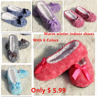 Wholesale Women Winter Soft Plush Cotton padded Shoes Coral Fleece Rose Home Slippers Indoor Home Shoes Foot Warmer Floor Socks Color
