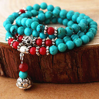 Wholesale D4249 National Turquoise Crystal Jade Stone Bead With Carved Tibet Silver Accessory Buddha Lucky Chain Healthy Bracelets