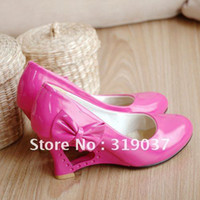 Cheap Wholesale-Cheap NEWEST womens fashionable comfortable sheos bow High-heel 7cm white bride Wedding shoes Student shoes heels in box