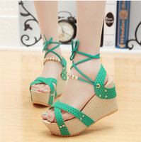 ankle strappy sandals - Summer new sweet wave point tendon at the end slope with thick crust strappy fashion beaded ankle strap sandals women