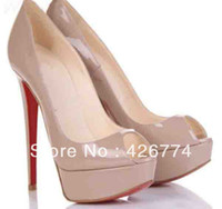 Wholesale Hotsale red sole fish toe patent leather high heel shoes