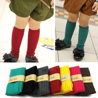 Wholesale Colors Autumn Winter Lovely Kids Toddlers Girls Soft Knee High School Socks leg warmer Girl Cotton Princess Stockings Y