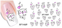 Wholesale New Fashion Piece Sexy Design Fresh Cartoon Cat Tip Nails Decal Nail Art Nail Sticker XF1469