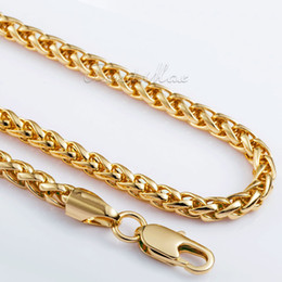 Wholesale-5mm Mens Chain Boys Jewellery Wheat Link Yellow Gold Filled GF Necklace Customized Wholesale Jewelry Free Shipping
