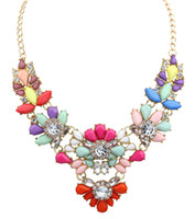 Cheap Wholesale-5colors Star Jewelry New Choker Fashion Necklaces For Women 2015 Statement Pendant Stone Imitation Diamond Flowers Necklace S26