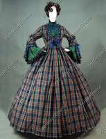 Wholesale Custom Made Civil War Blend Tartan Ball Gown Period Dress Reenactment Clothing Party Dress Holiday Dress