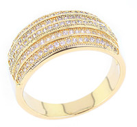 Wholesale New arrival real gold plated Mirco pave setting with Cubic zirconia Women and men Rings fashion jewelry full size