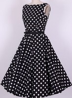 Cheap Wholesale-cotton S-6XL rockabilly pin up vintage dresses retro Audrey dress women new fashion 50s swing polka dots vestidos plus size