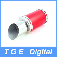 Wholesale 7 quot Inch Oval Red Silver Tone Stainless Steel Exhaust Pipe Muffler Silencer for Motorcycle