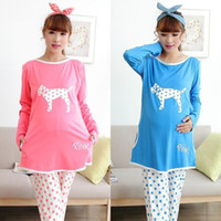 Wholesale Autumn Cotton Maternity Sleepwear Pajamas Lounge Nursing Tops Belly Pants Breast Feeding Nightgown Clothes For Pregnant Women