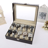 fashion jewelry boxes - New Fashion High Quality PU Leather Grids Watch Display Case Jewelry Collection Storage Organizer Box Holder H13132