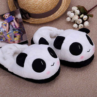 Wholesale Indoor Novelty for Lovers Winter Warm Slippers Lovely Cartoon Panda Face Soft Plush Household Thermal Shoes cm in H12673