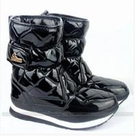 Botas mayor-patente brillante Rubber Duck Botas Marca Mujeres, Señoras nieve Botas Luz impermeable y caliente Zapatos de punta redonda Plus Size 8