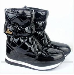 Botas para la nieve pato mujeres en Línea-Botas mayor-patente brillante Rubber Duck Botas Marca Mujeres, Señoras nieve Botas Luz impermeable y caliente Zapatos de punta redonda Plus Size 8