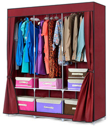 Wholesale Brand New Double Portable Canvas Wardrobe with Hanging Rail Closet Home Furniture Storage