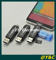 Wholesale Universal in NEW OTG smart Card Reader hub OTG Card reader TF Micro SD card USB hub
