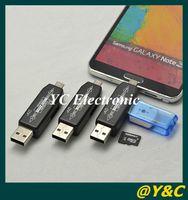 Livraison gratuite 2014 universel 2 en 1 NOUVEAU OTG lecteur de cartes à puce 2.0 hub OTG lecteur de cartes TF micro carte SD USB 2.0 hub