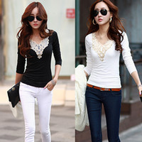 Wholesale Korean Style Fashion Women Slim Blusas Speing V Neck Lace Applique T Shirt Long Sleeve Tops Basic Shirt Blusas Femininas G0800