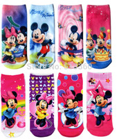 Cheap Wholesale-Mickey Mouse 2015 New Cotton Socks Minnie Mouse For 1-10Yrs Girls Cartoon Baby Sneaker Normal Socks 12Pairs Lot Size A B C D