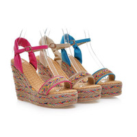 Wholesale Summer sandals for women fashion platform wedges sandals elastic band open toe high heeled shoes woven straw sandals