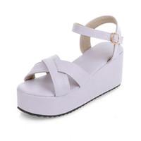 women fashion shoes large size - Large Size Women fashion wedges sandals platform shoes creepers buckle high heel sandals women summer shoes QA8