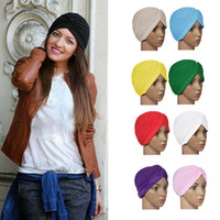 hat factory - Hot Top Quality Stretchy Turban Head Wrap Band Sleep Hat Chemo Bandana Hijab Pleated Indian Cap Colors Factory Price H3153