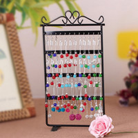 metal jewelry stand - Makeup Organizer Earrings Jewelry Display Fashion Rack Metal Stand Holder Showcase Holes Black White H13140
