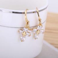 crystal cross - New Fashion Jewelry Plated K Gold Cross Drop Dangle Pendant Ear Earring Gift for Women Clear Crystal Zircon Hoop Earrings H13987