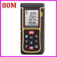 Wholesale m Laser distance meter bubble level tool Rangefinder Rang finder Tape measure Area Volume Tester Better rz80