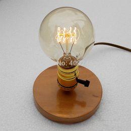 Wholesale-Edison retro nostalgia and solid wood base E27 light bulb DIY small desk lamp Studio bar coffee shop decoration lighting