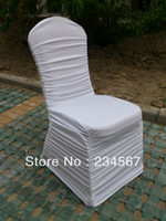 Cheap Wholesale-1pcs Ruffle Spandex Lycra Chair Cover Sample For Wedding Hotel Banquet Free Shipping