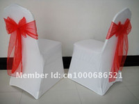 Cheap Wholesale-100pcs Spandex chair cover  wedding chair covers+100pcs Red organza chair sashe