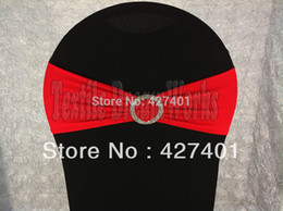 Wholesale Hot Sale Red Spandex Bands Lycra Band Chair Covers Sash With Crystal Round Buckle For Wedding amp Banquet