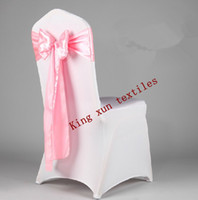 Wholesale White spandex chair cover with hot pink satin chair sash Spandex lycra chair cover