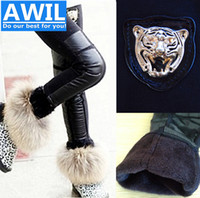Cheap Wholesale-Free Shipping 2015 winter Leather leggings girls leggings Kids leggings kids clothing leggings for girls 4-8years old Retail