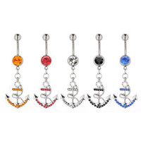 anchor belly button rings - 12pcs Fashion Belly Rings Stainless Steel And Zinc Alloy Belly Button Rings For Sale With Rhinestone Cute Anchor Navel Piercing Jewelry