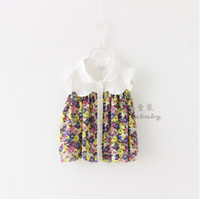 Cheap Girls Fashion Spring Floral Print Blouses Shirts Toddler Baby Casual Sleeveless Button Flower Cotton Wear Children Clothing 6pcs LOT