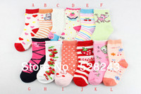 Wholesale pair pack children short sock cotton pretty colorful kids sock with cute pattern design flowers fruit for