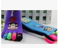 designer socks - pairs designer children toe socks cotton Parent child socks with toes sport five finger ankle socks with colors