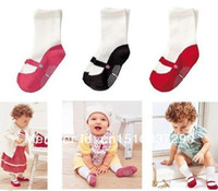 Wholesale Toddler infant sock with anti slip look like as mary janes shoes baby girl sock