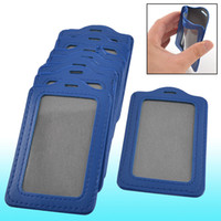 Wholesale 10 School Vertical Faux Leather Name Tag ID Badge Card Holders Blue