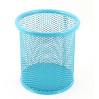Wholesale 8 cm Diameter Cylinder Shaped Mesh Design Metal Pen Ruler Pencil Holder Blue